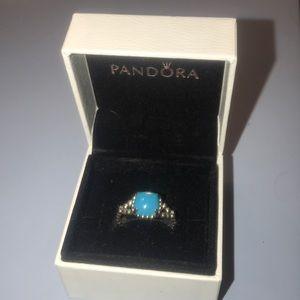 Pandora vibrant spirit ring. Scuba blue crystal